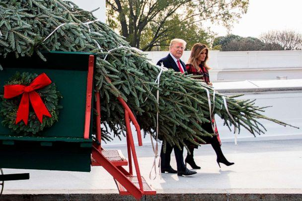 PHOTO: President Donald Trump and First Lady Melania Trump participate in the White House Christmas Tree delivery at the White House in Washington, D.C., Nov. 19, 2018. (Jim Watson/AFP/Getty Images)