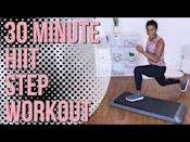 """<p><strong>Level</strong>: beginner to intermediate</p><p><strong>Time required: </strong>30 minutes</p><p><strong>Equipment required</strong>: dumbbells and a step platform</p><p><strong>What to expect</strong>: Try not to fall in love with Crystal's throughout this video. I dare you. With all of her encouragement, she even makes step-up hops feel kind of fun. In this workout, she combines faster cardio moves with strength and core finishers. She leads you through an extensive warm up and pauses to explain the movements. She doesn't provide a lot of modifications, though, so if you are super new to working out, you may want to stop and rewind to make sure you get the moves down. There's a lot of jumping, so if your joints are feeling achy, you can step-up instead.</p><p><a href=""""https://www.youtube.com/watch?v=cVlTwQkKD_Q&t=241s"""" rel=""""nofollow noopener"""" target=""""_blank"""" data-ylk=""""slk:See the original post on Youtube"""" class=""""link rapid-noclick-resp"""">See the original post on Youtube</a></p>"""