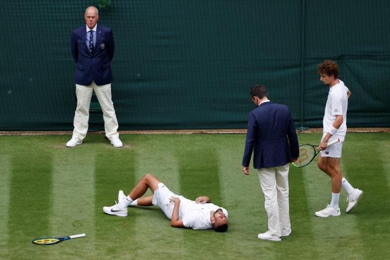 Ugly fall: Australia's Nick Kyrgios falls down after slipping on Court 1 against Ugo Humbert