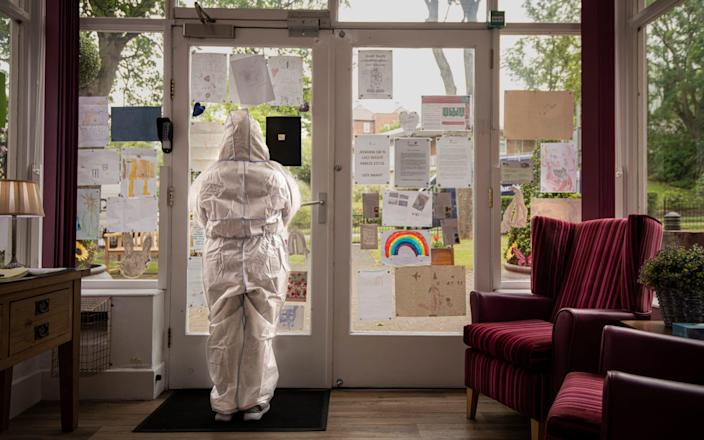 A staff member at St Cecilia's Nursing Home in Scarborough - Simon Townsley