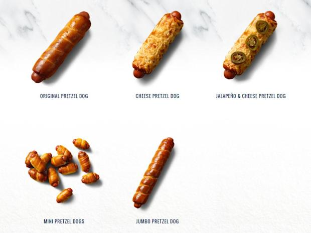 The various kinds of 'pretzel dogs' sold at Auntie Anne's. The local chapter of the US pretzel chain has confirmed that it has changed the name of its 'pretzel dog' to 'pretzel sausage'. ― Picture courtesy of Auntie Anne's