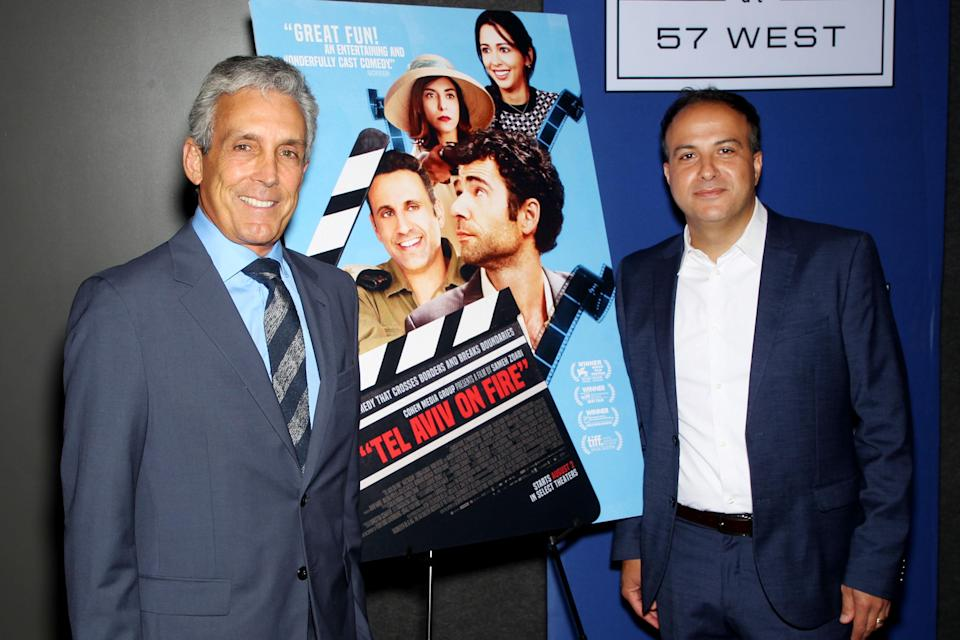 """Charles Cohen with director Sameh Zoabi at a special screening of Cohen Media Group's film """"Tel Aviv On Fire"""" at Landmark at 57 West. - Credit: Marion Curtis/StarPix for Cohen Media Group/Shutterstock"""