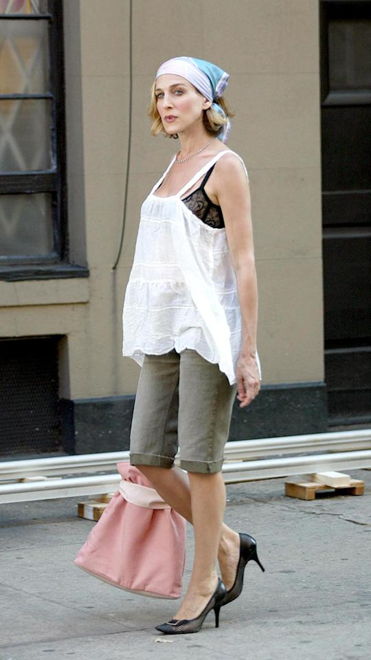 17. Love it or hate it, this outrageous outfit will forever be associated with Carrie Bradshaw. From the do-rag (or the don't-rag, in this case) to the baggy top and visible lace bra, the sex columnist certainly took her fair share of fashion risks while out and about in NYC.