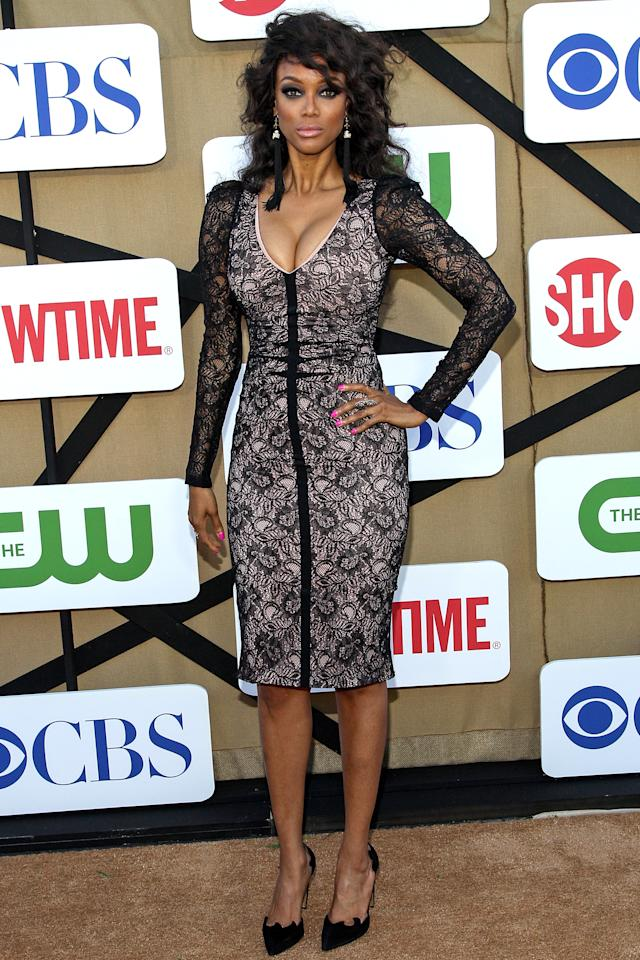 LOS ANGELES, CA - JULY 29: TV personality Tyra Banks attends the CW, CBS and Showtime 2013 summer TCA party on July 29, 2013 in Los Angeles, California. (Photo by Paul A. Hebert/Getty Images)