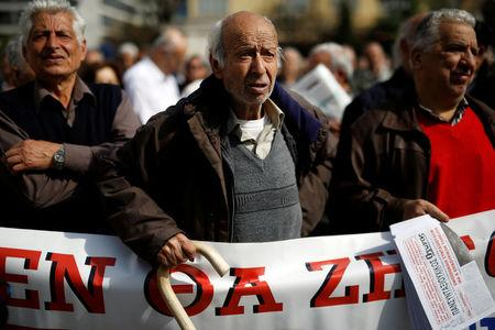 Greek pensioners take part in demonstration against planned pension cuts in Athens