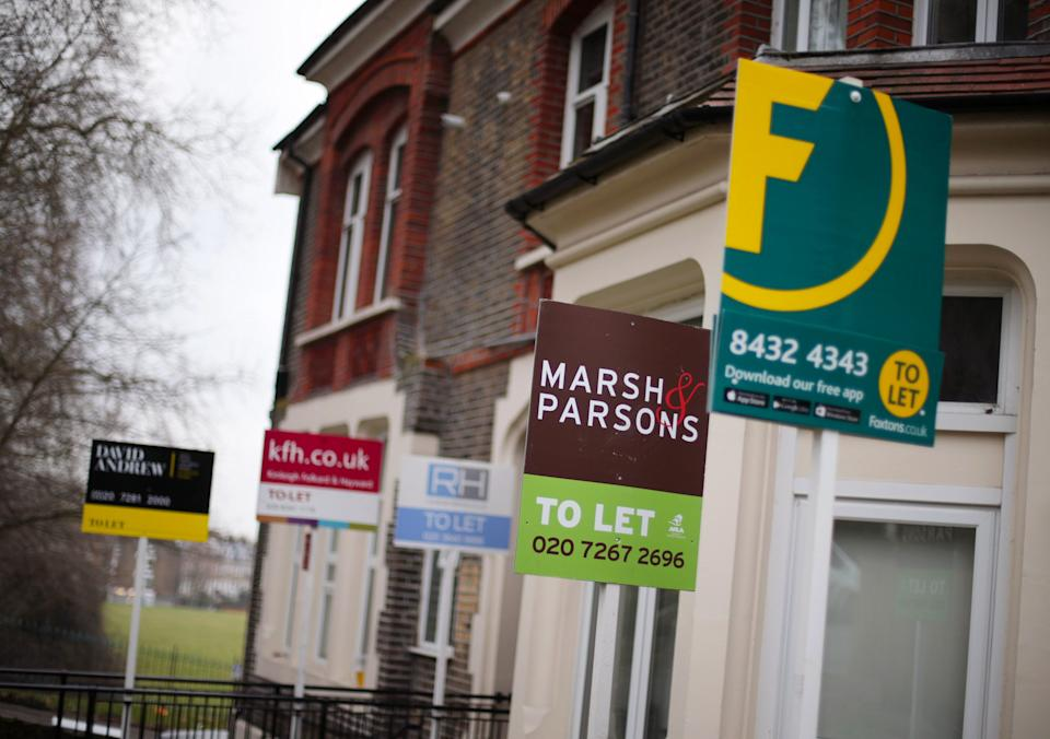 EMBARGOED TO 0001 MONDAY APRIL 27 File photo dated 08/02/17 of a row of To Let estate agent signs placed outside houses in north London. Seven in 10 renters whose tenancies were up for renewal stayed put in March, the highest proportion for that time of year since 2008, according to an index.