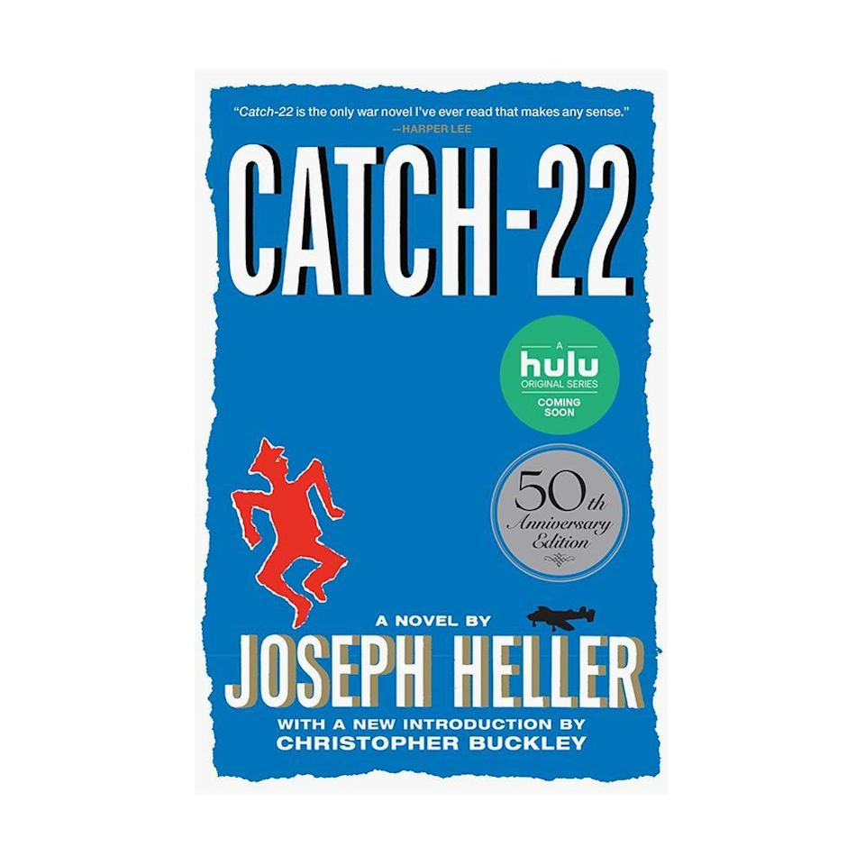"""<p><strong>$11.52 <a class=""""link rapid-noclick-resp"""" href=""""https://www.amazon.com/Catch-22-50th-Anniversary-Joseph-Heller/dp/1451626657/ref?tag=syn-yahoo-20&ascsubtag=%5Bartid%7C10054.g.35036418%5Bsrc%7Cyahoo-us"""" rel=""""nofollow noopener"""" target=""""_blank"""" data-ylk=""""slk:BUY NOW"""">BUY NOW</a></strong><br><strong>Genre: </strong>Fiction</p><p>In this dark, yet humorous novel, World War II soldier Yossarian is stuck in a predicament that may cause him to violate a Catch-22, a bureaucratic rule in which he would be considered insane if he willingly embarks on combat missions. But if he requests to be removed from serving, he will be proven sane, but would then deemed ineligible for release.<br></p>"""