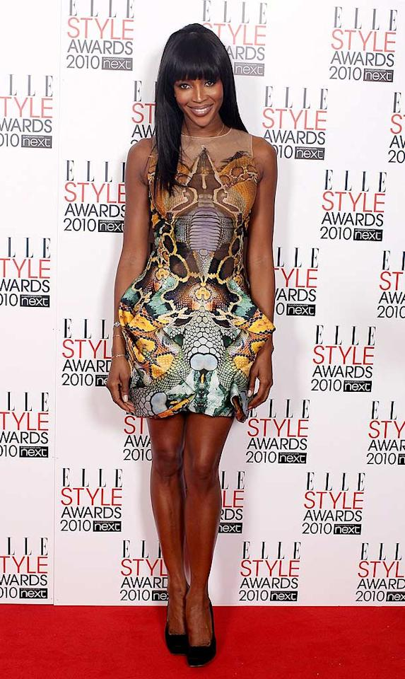 """Naomi Campbell modeled a chic frock designed by her late friend Alexander McQueen. Last week, she walked the runway in a similar piece at a charity fashion show in London, where McQueen was found dead earlier this month. Mike Marsland/<a href=""""http://www.wireimage.com"""" target=""""new"""">WireImage.com</a> - February 22, 2010"""