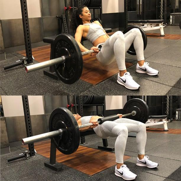 "<p>First, Bret recommended doing a bridge or thrust movement such as the barbell hip thrust. If this move is too advanced, try a <a href=""https://www.popsugar.com/fitness/photo-gallery/45301471/image/45302215/Glute-Bridge"" class=""ga-track"" data-ga-category=""Related"" data-ga-label=""https://www.popsugar.com/fitness/photo-gallery/45301471/image/45302215/Glute-Bridge"" data-ga-action=""In-Line Links"">glute bridge</a>, a <a href=""https://www.popsugar.com/fitness/photo-gallery/45764552/image/45764554/Weighted-Glute-Bridge"" class=""ga-track"" data-ga-category=""Related"" data-ga-label=""https://www.popsugar.com/fitness/photo-gallery/45764552/image/45764554/Weighted-Glute-Bridge"" data-ga-action=""In-Line Links"">weighted glute bridge</a>, or a <a href=""https://www.popsugar.com/fitness/photo-gallery/45216828/image/45327123/Single-Leg-Glute-Bridge"" class=""ga-track"" data-ga-category=""Related"" data-ga-label=""https://www.popsugar.com/fitness/photo-gallery/45216828/image/45327123/Single-Leg-Glute-Bridge"" data-ga-action=""In-Line Links"">single-leg bridge</a>, for example. ""I think it [the barbell hip thrust] works the glutes best because it has the highest glute activation of all the exercises,"" he said.<br></p> <p>This is because when your knees are bent, your hamstrings are shortened, which means your glutes end up doing more of the work, Bret explained. He also likes this movement because there is constant tension on the hips.<br></p> <p>The goal for this exercise is to eventually be able to thrust double your bodyweight for three sets of 10 reps, Bret said. </p> <ul> <li>Sitting on the floor with your legs extended, rest your back against a stable bench.</li> <li>Place a towel or shoulder cushion on the bar for comfort (optional). Roll the barbell over your thighs until the bar is directly above your hip joints.</li> <li>Brace your core. As you drive your heels into the ground, squeeze your glutes, lifting your hips up to full extension, meaning your hips are even with your knees.</li> <li>With control, lower back down to the ground.</li> <li>This is one repetition.</li> <li>Complete three sets of eight to 12 reps.</li> </ul>"