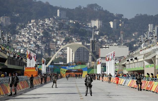 Around 85,000 police and soldiers have been guarding the Olympi Games in Rio -- twice the number at London 2012 (AFP Photo/Adrian Dennis)