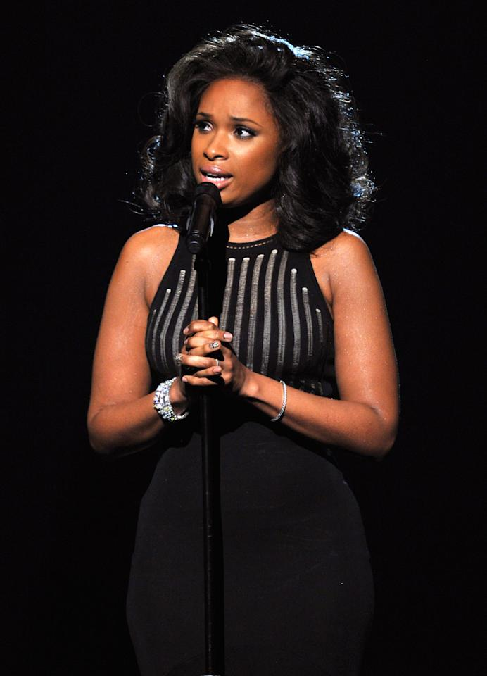 LOS ANGELES, CA - FEBRUARY 12:  Singer Jennifer Hudson performs during a memoriam for Whitney Houston onstage at the 54th Annual GRAMMY Awards held at Staples Center on February 12, 2012 in Los Angeles, California.  (Photo by Kevin Winter/Getty Images)