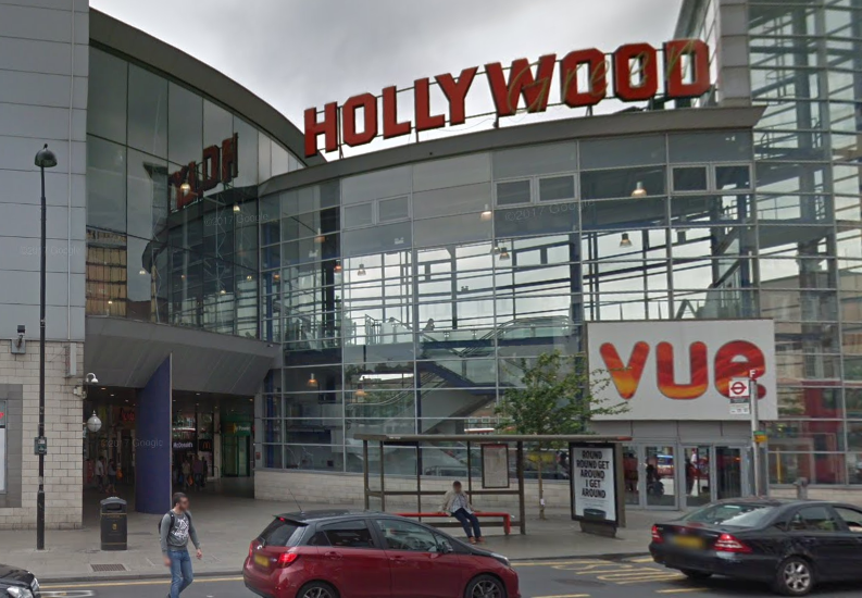 Metropolitan Police were called to Wood Green just after midnight on Thursday and found the young man suffering from a gunshot injury outside Vue cinema complex on Hollywood Green: Google Maps/screen grab