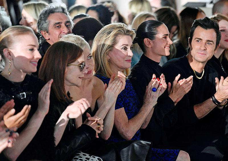 Isabelle Huppert, Michelle Williams, Catherine Deneuve, Jennifer Connelly and Justin Theroux seem to like what they see at the Louis Vuitton show.