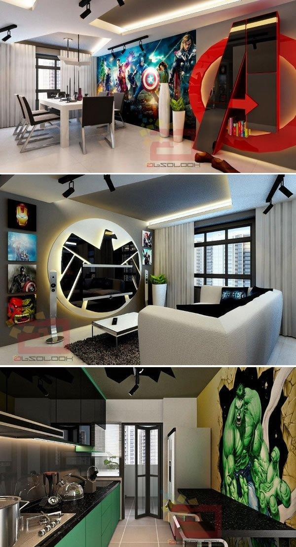 Avengers-themed apartment concept from Absolook Interior Design.