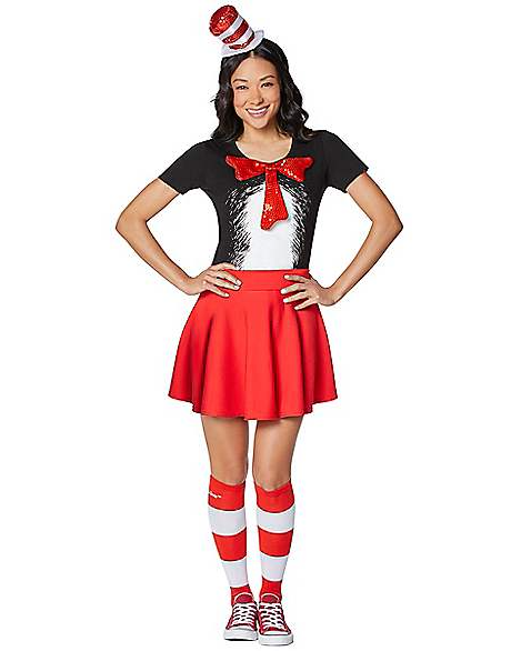 Woman wears Adult Cat in the Hat Costume Kit with bow tie, top hat and red skirt
