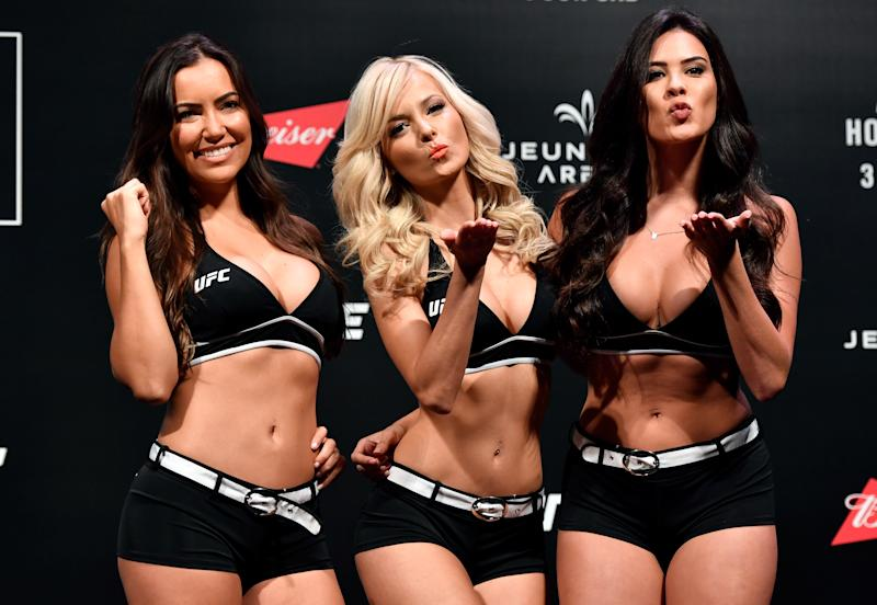 RIO DE JANEIRO, BRAZIL - JUNE 02: (L-R) UFC Octagon Girls Luciana Andrade, Jhenny Andrade, and Camila Rodrigues de Oliveira pose for photos during the UFC 212 weigh-in at Jeunesse Arena on June 2, 2017 in Rio de Janeiro, Brazil. (Photo by Jeff Bottari/Zuffa LLC/Zuffa LLC via Getty Images)