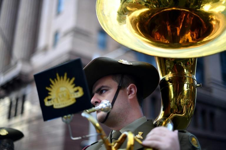 A musician marches in the Anzac Day parade in Sydney