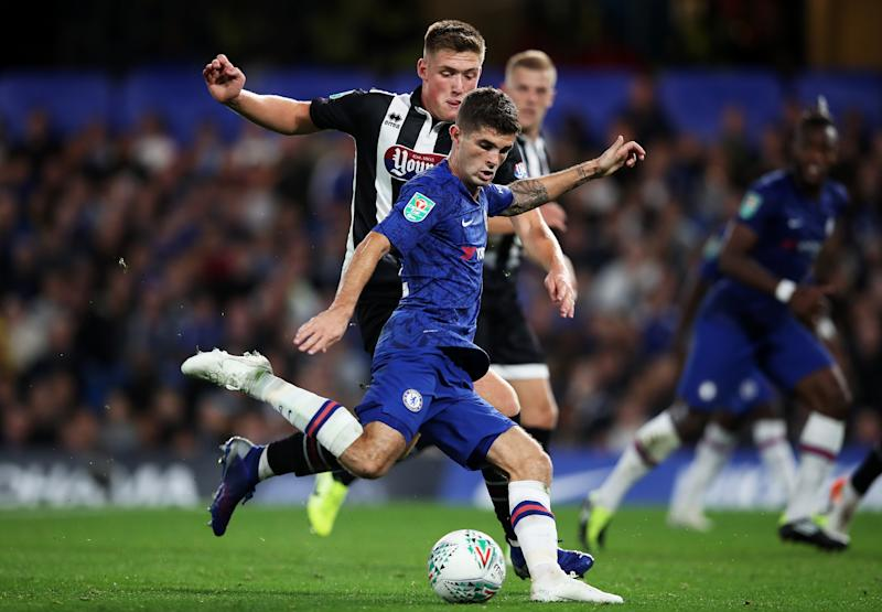 LONDON, ENGLAND - SEPTEMBER 25: Christian Pulisic of Chelsea shoots during the Carabao Cup Third Round match between Chelsea FC and Grimsby Town at Stamford Bridge on September 25, 2019 in London, England. (Photo by Chris Lee - Chelsea FC/Chelsea FC via Getty Images)