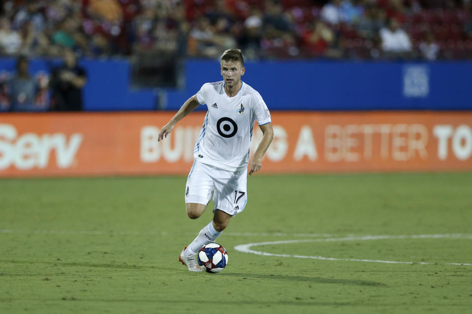 Minnesota United midfielder Collin Martin advances the ball during the second half of an MLS soccer match against FC Dallas in Frisco, Texas, Saturday, Aug. 10, 2019. FC Dallas beat Minnesota United 5-3. (AP Photo/Roger Steinman)