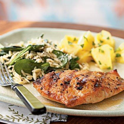 """<p>Friends and family will beg for the recipe when you serve this sophisticated take on salmon. Brush the fruit reduction on the fish at the last minute to prevent sugars from burning on the grill.</p> <p><a href=""""https://www.myrecipes.com/recipe/grilled-salmon-with-apricot-mustard-glaze"""" rel=""""nofollow noopener"""" target=""""_blank"""" data-ylk=""""slk:Grilled Salmon with Apricot-Mustard Glaze Recipe"""" class=""""link rapid-noclick-resp"""">Grilled Salmon with Apricot-Mustard Glaze Recipe</a></p>"""