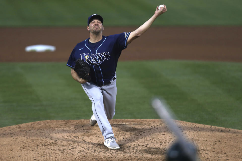 Tampa Bay Rays' Rich Hill throws to an Oakland Athletics batter during the fifth inning of a baseball game in Oakland, Calif., Friday, May 7, 2021. (AP Photo/Jed Jacobsohn)