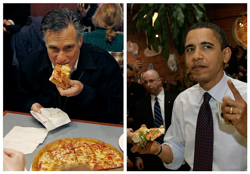 """<p>               In this combination of file photos, Republican presidential candidate former Mass. Gov. Mitt Romney, left, takes a bite of pizza during lunch with his wife Ann while campaigning at Village Pizza in Newport, N.H., Dec. 20, 2011, and then-Senator Barack Obama, right, takes a bite of pizza at American Dream Pizza in Corvallis, Ore., March 21, 2008. Pizza Hut is rethinking its contest daring people to ask """"Sausage or Pepperoni?"""" at the presidential debate Tuesday, Oct. 16, 2012, After the stunt triggered backlash last week, the company says it's moving the promotion online, where a contestant will be randomly selected to win free pizza for life.  (AP Photo)"""