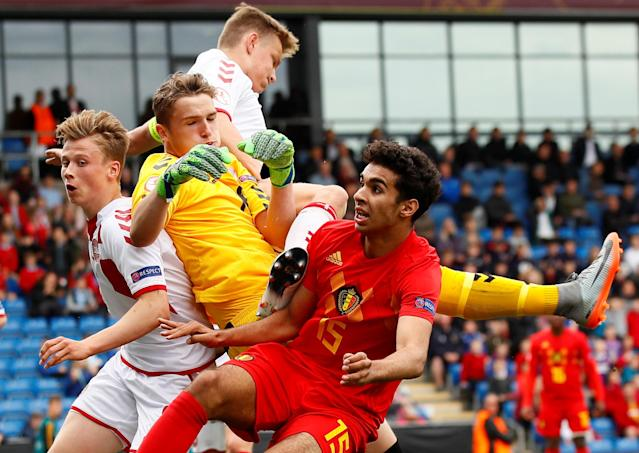 Soccer Football - UEFA European Under-17 Championship - Group C - Belgium v Denmark - Proact Stadium, Chesterfield, Britain - May 11, 2018 Belgium's Halim Timassi in action with Denmark's Daniel Andersen and Mathias Jensen Action Images via Reuters/Jason Cairnduff