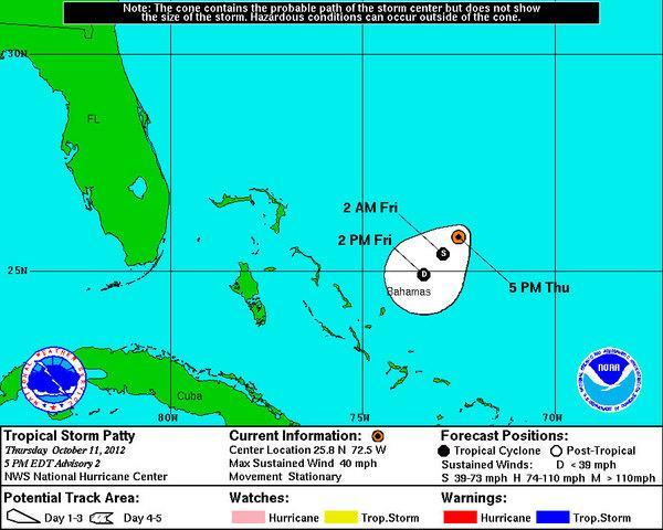 The predicted path of Tropical Storm Patty as of the 5 p.m. EDT Oct. 11, 2012, forecast from the National Hurricane Center.