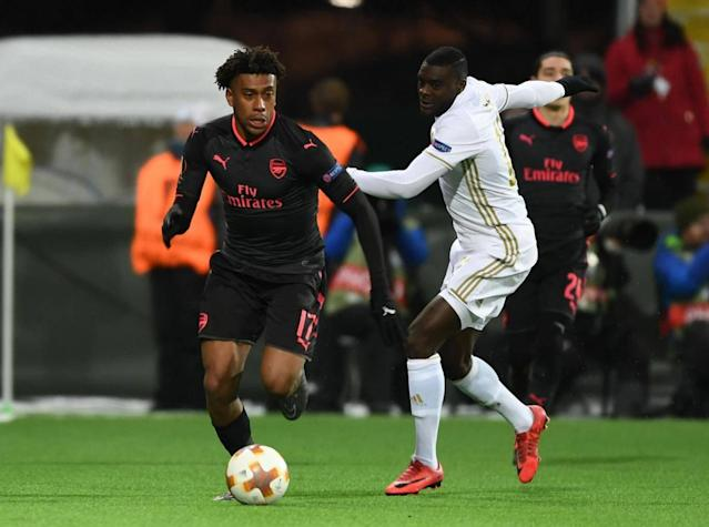 Alex Iwobi in action for Arsenal (Getty)