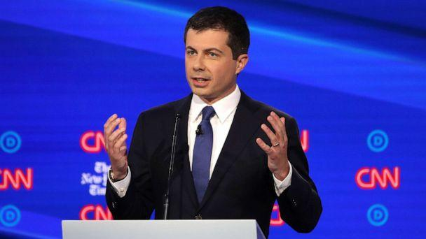 PHOTO: Democratic presidential hopeful Pete Buttigieg speaks during the fourth Democratic primary debate at Otterbein University in Westerville, Ohio, Oct. 15, 2019. (Win Mcnamee/Getty Images)