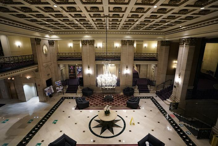 The lobby of the Roosevelt Hotel, a historic luxury hotel in Midtown Manhattan, is seen in New York on October 12, 2020. - The Roosevelt Hotel announced the hotel would permanently close due to continued financial losses associated with the COVID-19 pandemicThe final day of operation will be October 31, 2020. The hotel, named in honor of President Theodore Roosevelt, opened on September 22, 1924. (Photo by TIMOTHY A. CLARY / AFP) (Photo by TIMOTHY A. CLARY/AFP via Getty Images)