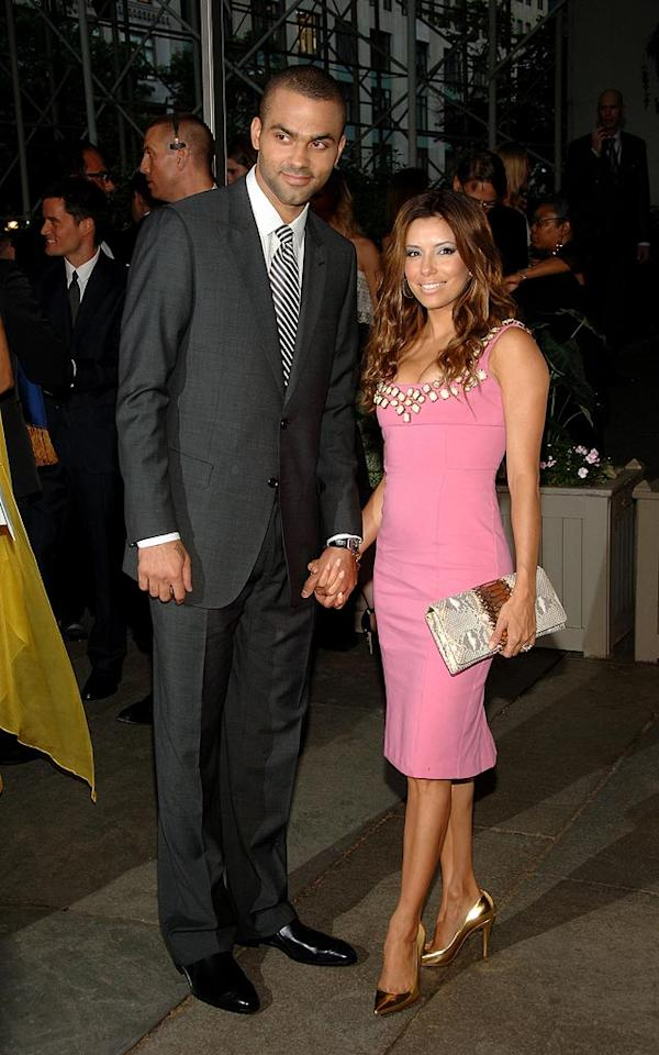 "A super sexy Tony Parker donned a simple yet chic suit, while his ""housewife"" Eva paired a pink cocktail dress with gold pumps. Jamie McCarthy/<a href=""http://www.wireimage.com"" target=""new"">WireImage.com</a> - June 2, 2008"