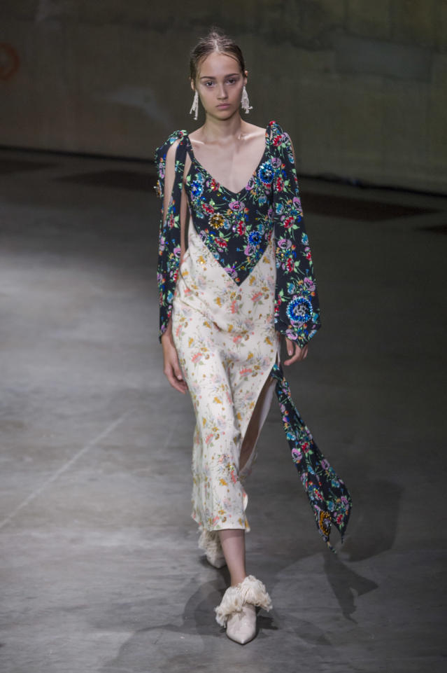 <p><i>Mixed floral print patchwork dress from the SS18 Christopher Kane collection. (Photo: IMAXtree) </i></p>