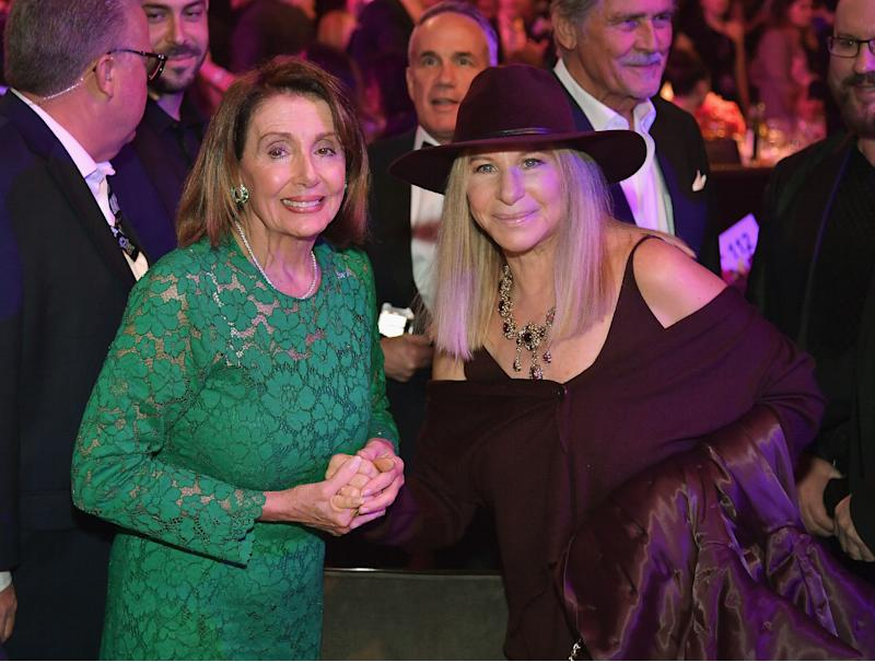 House Speaker Nancy Pelosi, whose district includes San Francisco, got a warm greeting from stars like Barbra Streisand.