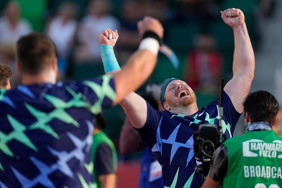 Ryan Crouser celebrates after setting a world record during the finals of men's shot put at the U.S. Olympic Track and Field Trials on June 18, 2021, in Eugene, Ore.