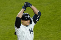 CORRECTS THAT THIS WAS AFTER STANTON FLEW OUT IN THE SIXTH, INSTEAD OF STRIKING OUT IN THE EIGHTH - New York Yankees' Giancarlo Stanton reacts after flying out during the sixth inning of the team's baseball game against the Atlanta Braves, Wednesday, April 21, 2021, at Yankee Stadium in New York. (AP Photo/Kathy Willens)