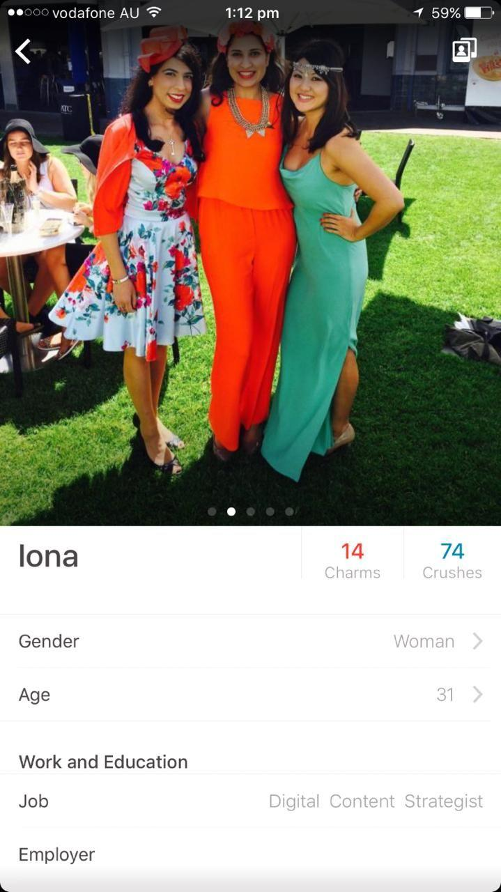 Iona moved to Sydney after her break-up where she set up this Happn profile. Photo: Supplied