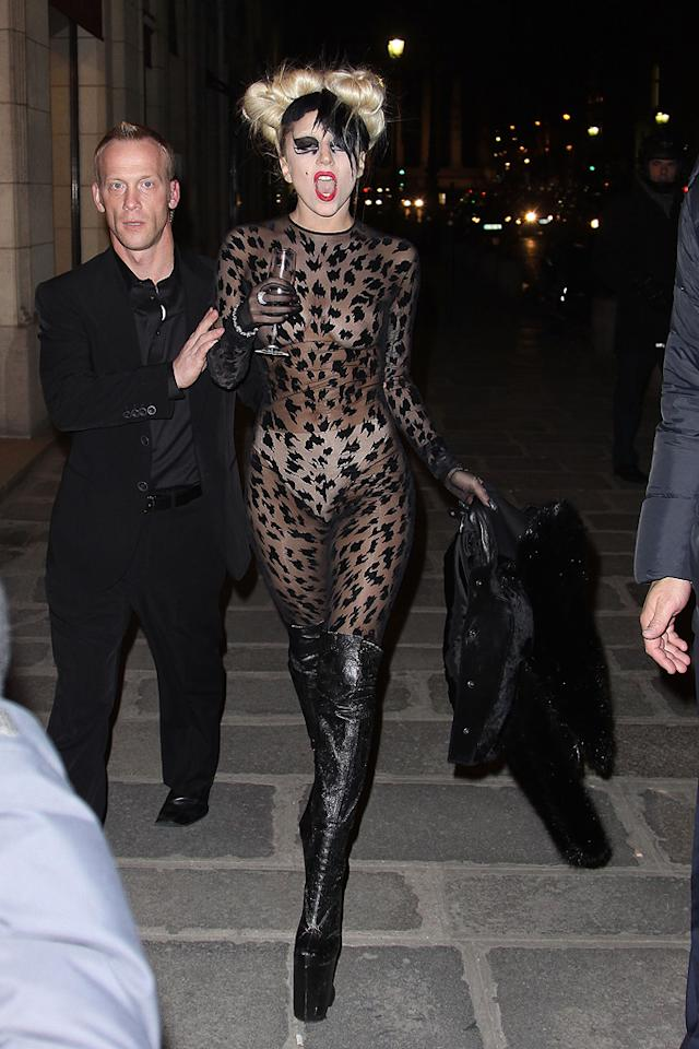 "Is anyone else getting tired of Lady Gaga's lame fashion antics? We know we'll never see her in jeans and a T-shirt, but does she have to wear such ugly ensembles on a daily basis? Marc Piasecki/<a href=""http://www.wireimage.com"" target=""new"">WireImage.com</a> - March 3, 2011"