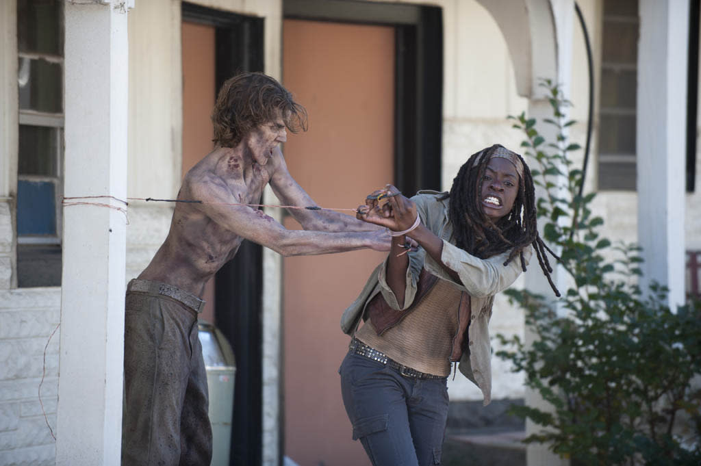 "Walker and Michonne (Danai Gurira) in ""The Walking Dead"" episode, ""This Sorrowful Life."""