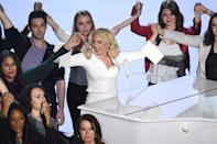 """<p>Having bravely shared her story of a past sexual assault in a bid to encourage other women to speak out about their own experiences, Lady Gaga gave the most powerful performance of her life at this year's Oscars. Appearing on stage alongside 50 sexual assault survivors, the Bad Romance singer belted out """"Til It Happens To You"""" a song about how it feels to be the victim of rape, that left the audience in a tearful standing ovation. 2016's Academy Awards belonged to Lady Gaga. [Photo: Getty] </p>"""