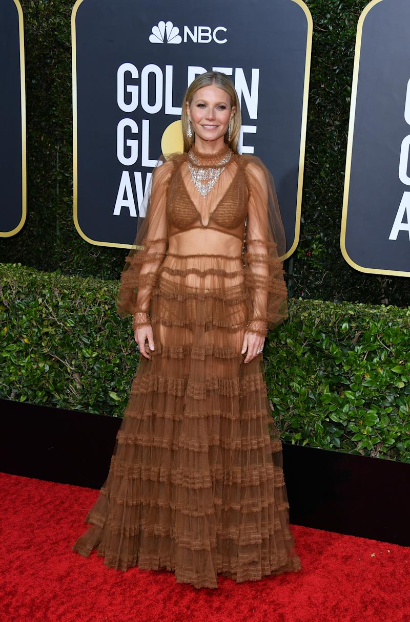 Gwyneth Paltrow naked dress Golden Globes
