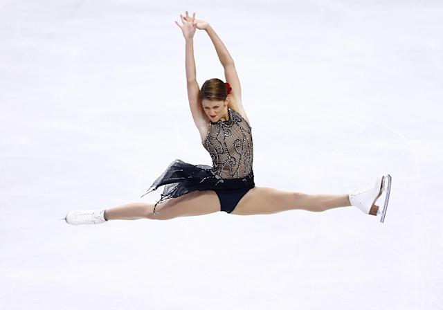 BOSTON, MA - JANUARY 11: Samantha Cesario competes in the free skate during the 2014 Prudential U.S. Figure Skating Championships at TD Garden on January 11, 2014 in Boston, Massachusetts. (Photo by Jared Wickerham/Getty Images)