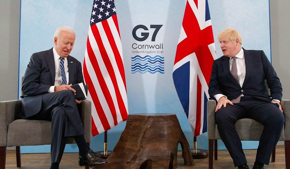 US President Joe Biden (left) and British Prime Minister Boris Johnson in Cornwall, Britain, on June 10, ahead of the Group of Seven meetings where Biden discussed efforts to coordinate with other nations on export controls concerning technology sales to China. Photo: EPA-EFE