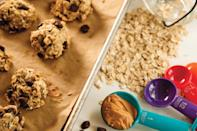 """Banana and chocolate are enough to sweeten these tasty vegan cookies. <a href=""""https://www.epicurious.com/recipes/food/views/vegan-egg-free-chocolate-chip-peanut-butter-and-banana-cookies?mbid=synd_yahoo_rss"""" rel=""""nofollow noopener"""" target=""""_blank"""" data-ylk=""""slk:See recipe."""" class=""""link rapid-noclick-resp"""">See recipe.</a>"""