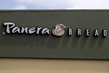 A Panera restaurant logo is pictured on a building in North Miami, Florida