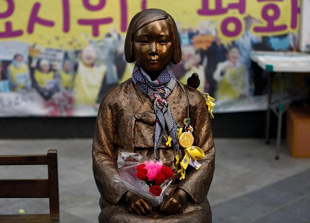 "<p>A ""comfort woman"" statue in front of Japanese embassy is pictured in Seoul, South Korea May 11, 2017. (Photo: Kim Kyung-Hoon/Reuters) </p>"