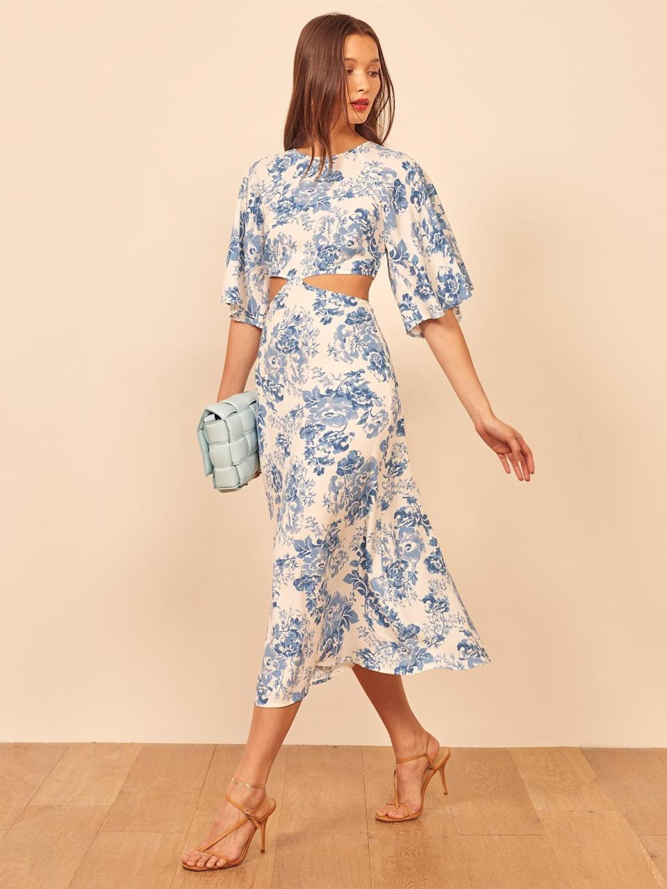 """<p>The cutouts are perfectly placed on this chic <a href=""""https://www.popsugar.com/buy/Reformation-Benny-Dress-571757?p_name=Reformation%20Benny%20Dress&retailer=thereformation.com&pid=571757&price=174&evar1=fab%3Aus&evar9=47465187&evar98=https%3A%2F%2Fwww.popsugar.com%2Ffashion%2Fphoto-gallery%2F47465187%2Fimage%2F47465196%2FReformation-Benny-Dress&list1=sales%2Csale%20shopping%2Creformation%2Cfashion%20shopping&prop13=api&pdata=1"""" class=""""link rapid-noclick-resp"""" rel=""""nofollow noopener"""" target=""""_blank"""" data-ylk=""""slk:Reformation Benny Dress"""">Reformation Benny Dress</a> ($174, originally $218).</p>"""