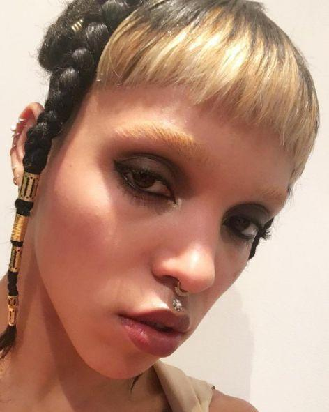 <p>Take one micro fringe, make it blonde to match your bleached eyebrows and what have you got? FKA Twigs' latest hair look. God she's cool.</p>