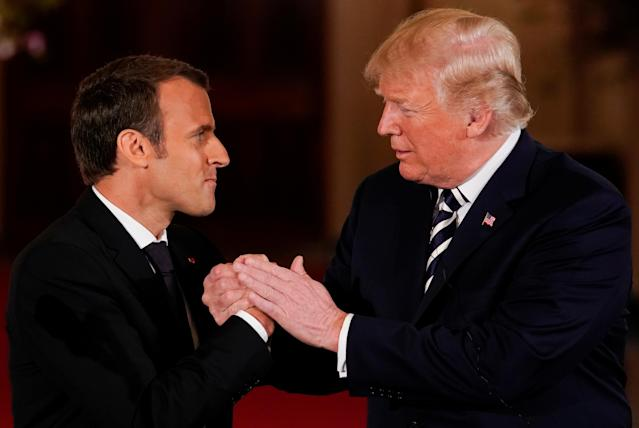 <p>U.S. President Donald Trump shakes hands with French President Emmanuel Macron after their joint news conference at the White House in Washington, April 24, 2018. (Photo: Jonathan Ernst/Reuters) </p>