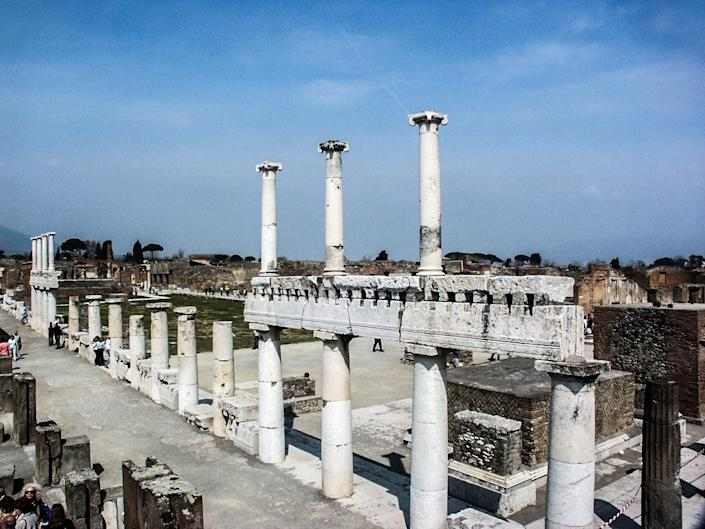 The city of Pompeii faces danger from Mount Vesuvius as well as potential damage from the large number of tourists that visit each year.
